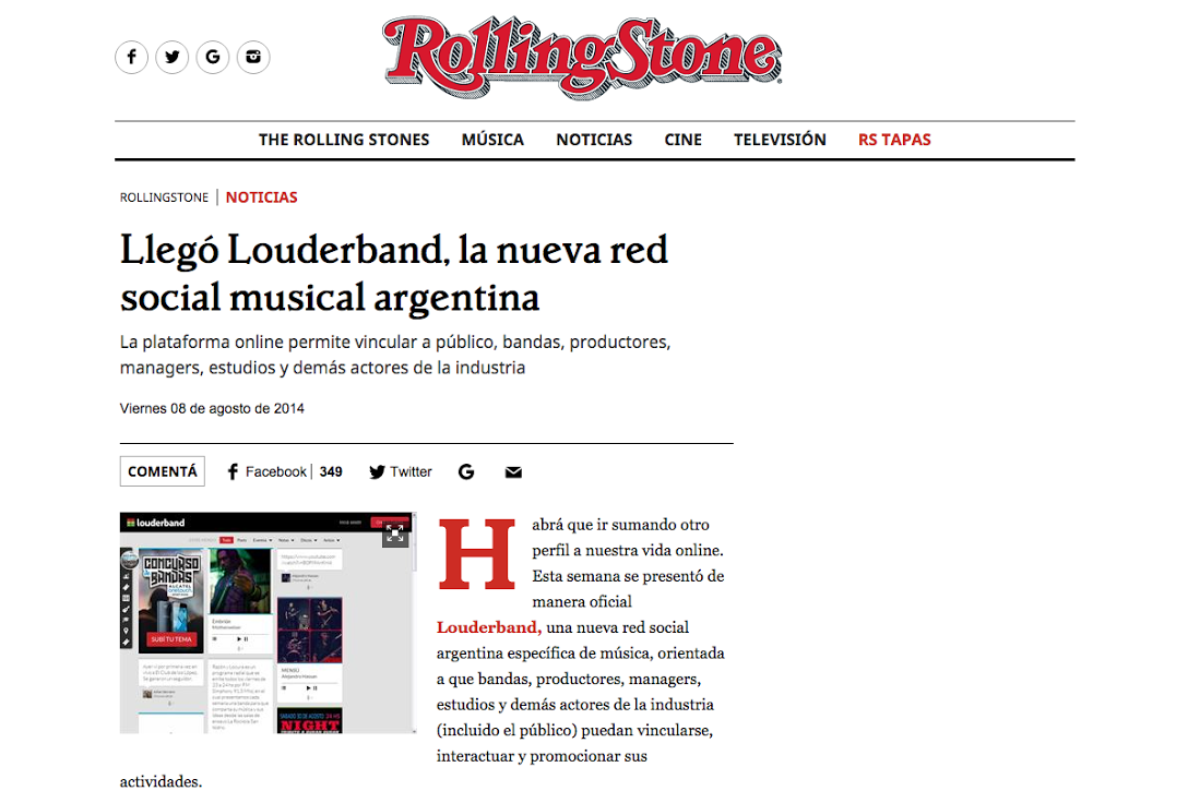Rolling Stone /// Lanzamiento Louderband